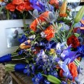 Bouquet with larkspur, sea holly and ranunculus
